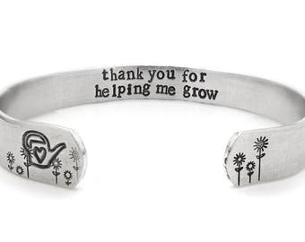 Gift for teachers, unique bracelet - gift for garderners garden floral bracelet, jewelry, inspirational bracelet, watering can, flowers, mom