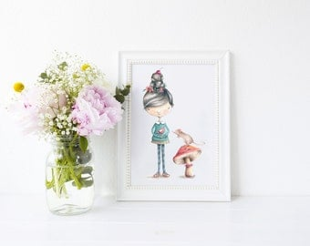 Girl with mouse and toadstool Art Print, art print, ideal for gift, nursery print
