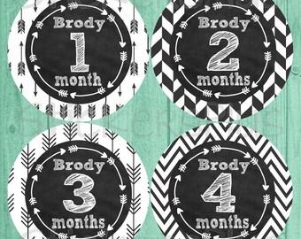 Personalized Monthly Baby Stickers Boy Girl Gender Neutral Month Milestone Custom Name Bodysuit Sticker Chalkboard Chalk Arrow Tribal Arrows