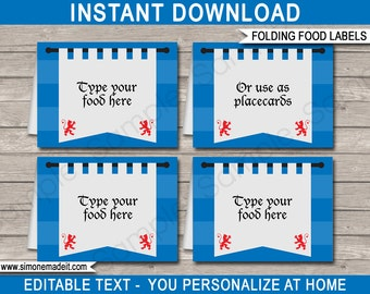 Knight Party Food Labels - Medieval Theme Party - Food Buffet Tags - Placecards - Party Decorations - INSTANT DOWNLOAD with EDITABLE text