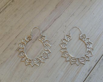 Brass/Silver hoop earrings/Ethnic/Lotus