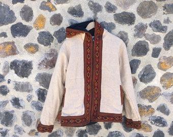Wool hooded Jacket with Embroidery/India/Fleece lining