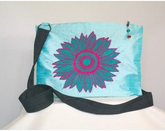 Teal and Hot Pink Sunflower Zippered Purse