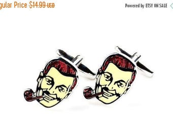 ON SALE Man with Pipe Cufflinks - Groomsmen Gift - Men's Jewelry - Gift Box Included