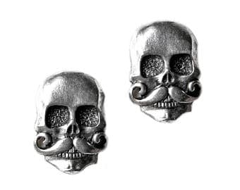 Skull with Mustache Cufflinks - Gifts for Men - Anniversary Gift - Handmade - Gift Box Included