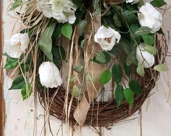 Front Door Wreath, white tulip farmhouse wedding wreath, Burlap Wreath, Greenery Wreath for All Year Round, Green Wreath, Natural Wild Front