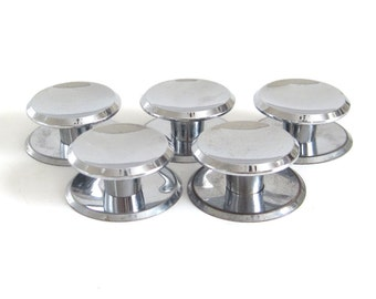 Concave Drawer Pulls Chrome Cabinet Knobs Backplates, Vintage Architectural Salvage Atomic