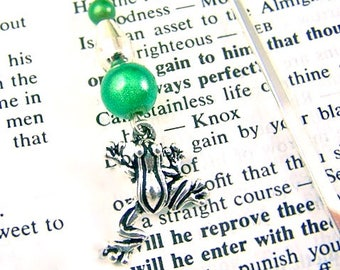 Bookmark - Silver Plated Pewter Frog with Mixed Media Beads / Silver Shepherds Hook & Bead with Green Miracle Beads