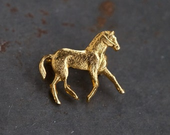 Tiny Horse Golden Badge Pin or Brooch