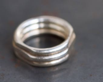 Sterling Silver Men's Ring Band - Chunky Geometric Wedding Ring - Ring Size 12.5