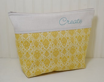 Create Sewing Project Craft Bag - Hand Embroidered Stand Up Zipper Tote - Sewing Knitting Crochet Pouch - Gold Aqua - Gift for Her