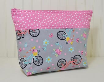 Bicycle Theme Cosmetic Bag, Colorful Bikes Makeup Bag, Large Toiletries Zipper Pouch, Pink Craft Project Bag, Blue Floral, Gift for Her