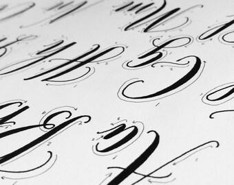 Printable Calligraphy Practice Alphabet - Alphabet 1 Exemplar - Traceable Calligraphy Digital Download