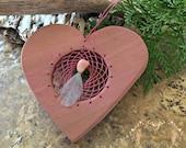 Pink Heart Dream catcher with opal gemstone