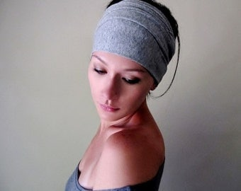 HEATHER GREY Head Scarf - Extra Wide Headband - Jersey Hair Wrap - Yoga Headband - Workout Hair Accessory - Activewear - Jersey Head Scarf