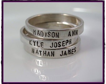 Sterling Silver Personalized stacking ring -Hand Stamped with your words sizes 5-10