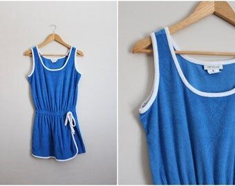 80s Blue Terry Romper / Mini Playsuit / 1980s / Cover up / Vintage Skort / Size S/M