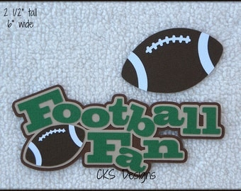 Die Cut Football Fan TITLE Scrapbook Page Embellishments for Card Making Scrapbook or Paper Crafts