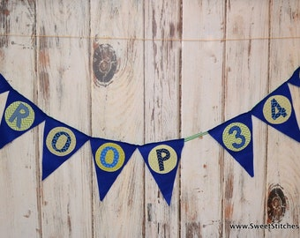Banner Personalized Party Bunting Banner Girl Scout Troop Cookie Fabric Party Banner Happy Birthday Banner Personalize Saying