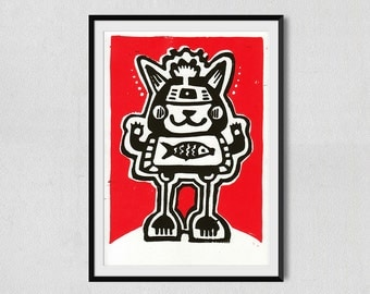 Cat-Fish Linocut Black & Red (148x210mm)