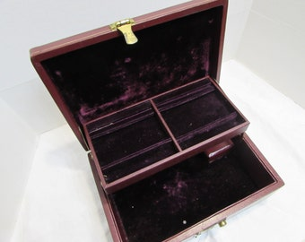 Vintage Musical Jewelry Box - Purple Jewelry Box - Wind up Musical Jewelry Box