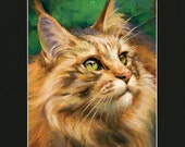"What's New Pussycat? 11x14"" Matted Print of Oil Painting Of Maine Coon Cat, Domestic Free Shipping, Animal Wall Art"