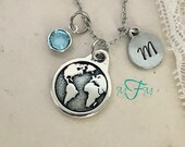 Earth Necklace, Personalized Necklace, Silver Pewter Globe Charm, Custom Necklace, Swarovski Crystal birthstone, World Necklace