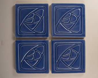 Arts and Crafts Mission Style Tile Coasters - Set of 4 Blue Stylized Rose Design