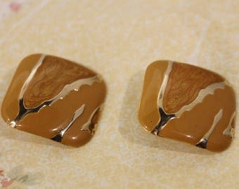 Square Golden with Goldenrod Enamel Earrings-  Pierced