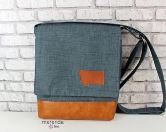 Nori Medium Flap Messenger Slouch Bag with Adjustable Cross Body Bag - Blue Denim with Montana Patch - iPad Bag  READY to SHIP