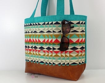 Lulu Large Tote - Teal Denim  with Overlook Pocket