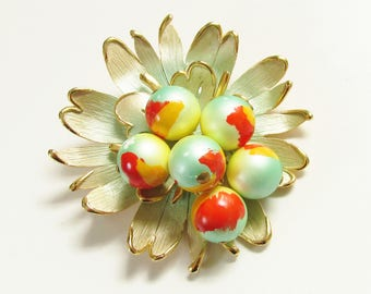 Vintage Enameled Green Red Yellow Chunky Beaded Flower Brooch 1960s