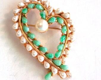 Designer, Art, Pearl Stylized Heart Brooch