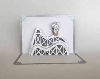 25th ANNIVERSARY Silver ROLLER COASTER 3D Pop Up Card. Handmade Celebration Greeting Card in White and Metallic Silver One of a Kind