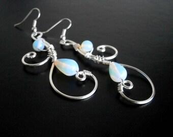 Moonstone Earrings, Silver Earrings, Wire Earrings, Bridal Earrings, Wire Wrapped Jewelry, Handmade Jewelry