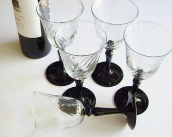 Vintage Wine Glasses, Luminarc France, Verrier D'Arques, Black Stem, Clear Swirl Bowl, Set of 5, Clear and Black, French