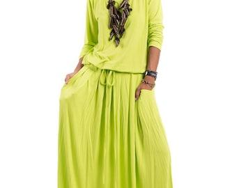 Green Yellow Maxi Dress - Bright Fluorescent Yellow Green Long Sleeve Dress : Autumn Thrills Collection No.1s  (Best Seller)