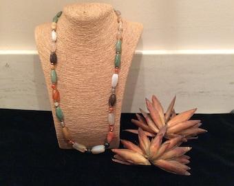 Vintage Polished Stone Bead Necklace, Vintage Costume Jewelry