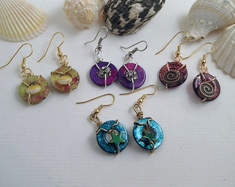 Hand wire wrapped earrings-alcohol inks and resin