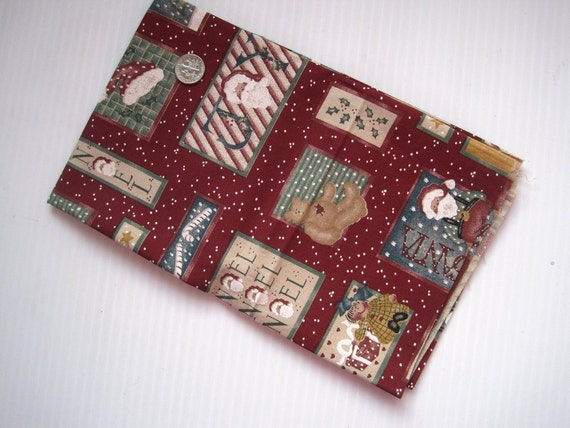 NOEL - cotton quilt fabric fat quarter - dark red Christmas quilting material with blocks of Santas and scenes - all cotton FQ
