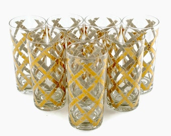 Vintage Signed Culver Gilded Bamboo Motif Highball Glasses - Set of Eight