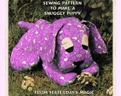 Instant Download PDF Full Size Printable Sewing Pattern to make a 7 inch Long Puppy Dog Bean Bag Cuddly Floppy Soft Stuffed Fabric Baby Toy