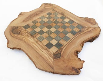 Fathers Day Gift / Personalized Unique Olive Wood Chess Board, Dad gift