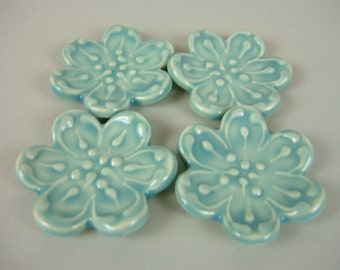 4 Ceramic Spoon / Chopsticks rests, Aqua Blue