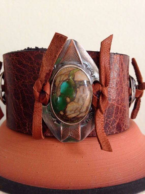 Handmade Leather Cuff, Southwestern, Green Brown Broken Arrow Variscite, Wide Brown Water Buffalo Leather Cuff, One Of A Kind