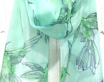 Bird Spring Scarf, Mint Green Scarf, Boho Fashion Scarf, ETSY, Handpainted Scarf, SIlk, Mint Green Summer Hummingbirds, Takuyo, 11x60 inches