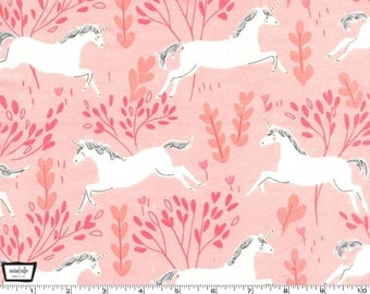 Magic on FLANNEL - Unicorn Forest Blossom Pink from Michael Miller