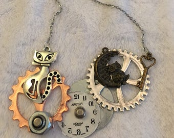 The Cat's Meow for A beautiful necklace. Steampunk one of a kind!