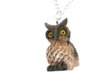 Owl Necklace Miniblings 45cm owl Necklace Eulen Vogel Bird owl owl brown