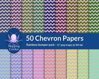 50 rainbow colored chevron scrapbooking papers, chevron digital papers, rainbow chevron paper,  zigzag scrapbook paper - INSTANT DOWNLOAD